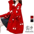 EASON SHOP(GW8427)韓版慵懶風櫻桃印花長袖毛衣外套女上衣服開衫寬鬆加厚紅色針織外套大碼外穿