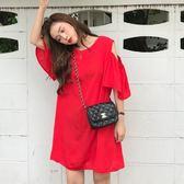 EASON SHOP(GU7466)實拍後背蝴蝶結綁帶露背露肩挖洞荷葉袖傘狀圓領短袖連身裙削肩洋裝寬鬆顯瘦短裙