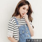 【天母嚴選】簍空蕾絲拼接細條紋柔棉上衣(共三色)