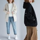 毛呢連帽外套女 冬季新款文藝洋氣后背印花棒球服大尺碼拉鏈長袖開衫‧復古‧衣閣