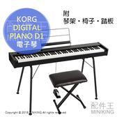 【配件王】日本代購 KORG DIGITAL PIANO D1 電子琴 電鋼琴 數位鋼琴 88鍵 30音色 附琴架 椅子