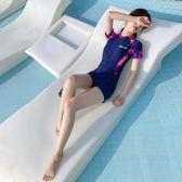 泳衣 泳衣女2019新款遮肚顯瘦保守學生運動款連體平角大碼專業游泳衣