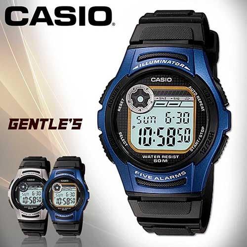 CASIO手錶專賣店 卡西歐  W-213-2A 男錶 籃框 電子錶 學生 LED背光 10年電力 膠質錶帶