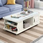 茶几 茶几現代簡約小戶型家用客廳茶桌玻璃簡易電視櫃組合圓角茶几桌【幸福小屋】