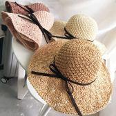 遮陽帽  大檐手工編織草帽子度假防曬蝴蝶結沙灘太陽帽折疊
