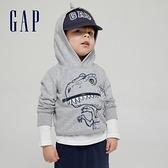 Gap男幼童 碳素軟磨系列 法式圈織立體動物連帽休閒上衣 738039-灰色