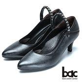 【bac】巧思設計-兩用穿搭真皮高跟鞋-黑紅色