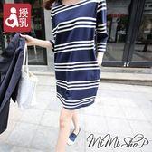 孕婦裝 MIMI別走【P11476】簡約好搭 條紋哺乳衣 哺乳裙 孕婦洋裝
