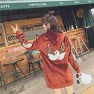 VK精品服飾 韓系絲絨加絨加厚繡花連帽長袖洋裝