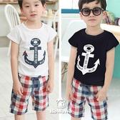 短袖套裝 男童 Navy海軍船錨上衣+格子短褲 AL1716 好娃娃