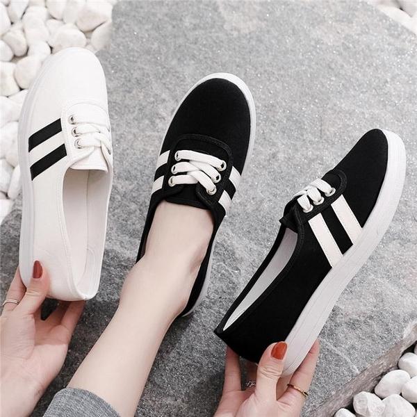 布鞋2021秋季新款小白帆布女鞋一腳蹬懶人板鞋韓版百搭學生休閒布鞋女 雲朵