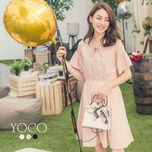 東京著衣【YOCO】小巴黎多色蕾絲拼接傘袖縮腰洋裝-S.M.L(170659)
