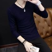 素色毛衣男毛衫V領針織衫打底衫上衣【左岸男裝】