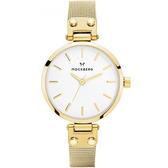 【台南 時代鐘錶 MOCKBERG】瑞典工藝 MO401 北歐極簡風格 LIVIA Petite時尚腕錶 金 28mm