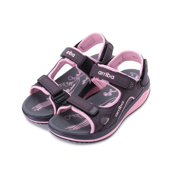 ARRIBA 雙魔鬼氈運動涼拖鞋 紫粉 女鞋 鞋全家福
