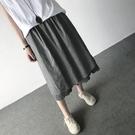 2020新款百搭顯瘦亞麻拼接假兩件套亞麻半身裙 闊腿褲裙 ~3色