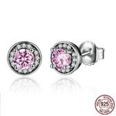 耳環 925純銀-鑲鑽簡約圓形甜美氣質女飾品73oh21【時尚巴黎】