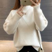 梨卡 - 秋冬氣質甜美寬鬆舒適半高領條紋保暖毛衣針織衫上衣DR001