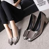 春季單鞋女方扣中高跟粗跟低跟尖頭淺口工作2018新款韓版百搭單鞋『潮流世家』