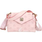 MCM Essential 經典圖騰壓紋皮革手提斜背包(粉色)1920211-05