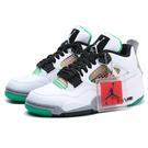 NIKE 籃球鞋 WMNS JORDAN AJ4 白綠 彩色 氣墊 休閒鞋 男女(布魯克林) AQ9129-100