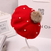 兒童貝雷帽女童帽子秋冬 韓版潮毛呢帽子針織韓國寶寶帽子秋冬款