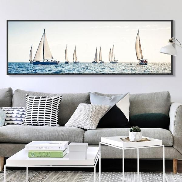 壁畫 地中海客廳裝飾畫主臥室壁畫床頭畫掛畫背景墻畫橫幅 i 叮噹百貨