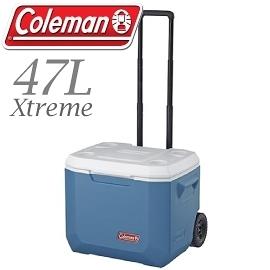 【Coleman 美國 47L Xtreme冷冽藍拖輪冰箱 】CM-3087JM000/行動冰箱/保冷/拉桿式/露營