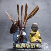 茶道六君子  整套黑檀木雞翅實木創意功夫茶具配件茶夾藝 家用  『歐韓流行館』