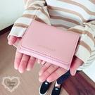 《花花創意会社》外流。JILL素色淡粉三折短夾錢包【H6211】