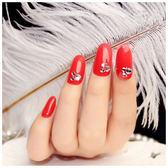 指甲片 - 圓頭中長款紅色美甲貼片假指甲孕婦背膠款指甲成品甲片【韓衣舍】