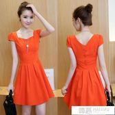 洋裝  時尚夏季女裝新款韓版小清新氣質修身顯瘦裙子棉麻連身裙女潮 韓慕精品