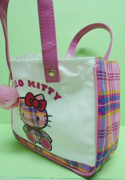 【震撼精品百貨】Hello Kitty 凱蒂貓~小手提袋『35周年蘇格蘭格紋坐姿』