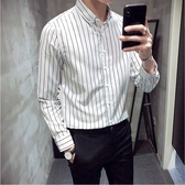 襯衫男長袖韓版潮流修身條紋襯衣白色