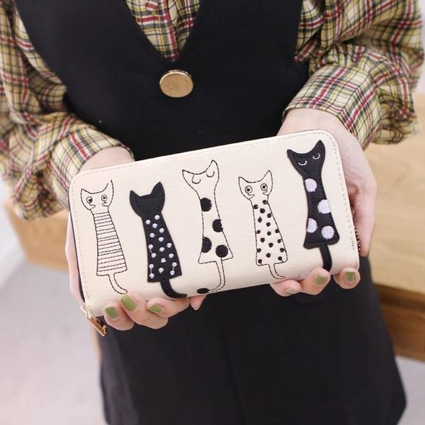 可愛刺繡貓咪長夾錢包零錢包皮夾非中夾短夾手機包