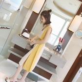 洋裝女新款夏季韓撞色綁帶收腰顯瘦氣質中長款無袖開叉裙子 ATF「錢夫人小鋪」