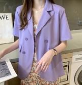 薄款小西裝外套女夏款韓版網紅女神雪紡休閒短袖西服垂感氣質外搭(黑色/紫色可選)紅粉佳人