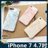 iPhone 7 4.7吋 大理石保護套 軟殼 晶透暖色系 多層次石頭紋 光澤亮面 矽膠套 手機套 手機殼