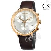 CK / K8M276G6 / 礦石強化玻璃 三眼計時 日期 夜光 瑞士製造 皮革手錶 銀x玫瑰金框x咖啡 43mm