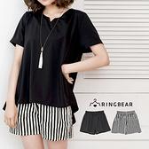 加大尺碼--優雅氣質鬆緊褲頭舒適A字版型顯瘦短褲(白.黑XL-4L)-R187眼圈熊中大尺碼