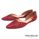 Tino Bellini 巴西 側鏤空幾何沖孔平底鞋_ 紅B83231 歐洲 款