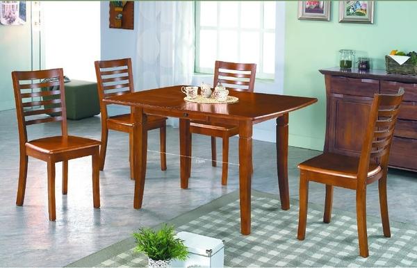 【南洋風休閒傢俱】餐桌椅-麥特柚木色實木拉合伸縮長方餐桌椅組 一桌四椅 JX235-1 246-8