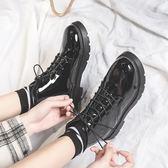 馬丁靴女2019新款高幫小皮鞋女冬學生短靴英倫風棉鞋加絨瘦瘦靴子   米娜小鋪