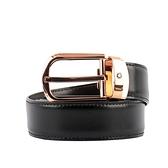 【MONT BLANC】玫瑰金馬蹄型釦雙面可用商務皮帶(黑色/棕色) 114413