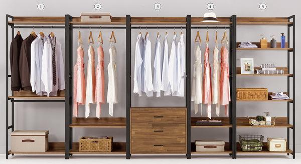 【森可家居】漢諾瓦2.6尺三抽衣櫥 (單只-編號3) 7CM049-3 開放式衣櫃 木紋質感 工業風
