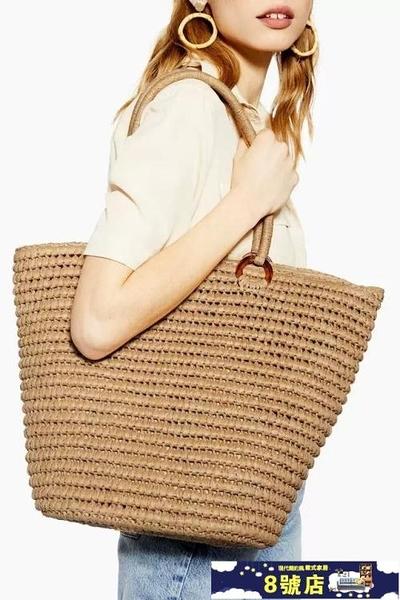 草編包女ins歐美簡約時尚單肩手提大容量夏季度假沙灘包編織包 8號店