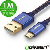 現貨Water3F綠聯 1M Micro USB快充傳輸線 BRAID版 牛仔藍