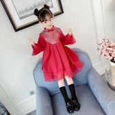 女童連身裙 女童冬裝新年裝中國風兒童秋冬加厚加絨裙子連身裙旗袍裙 童趣屋