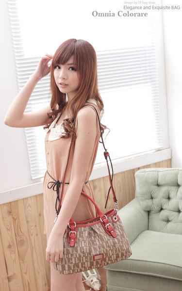 OMC - 氣質甜美文字拼接緹花皮帶造型真皮手提肩背包