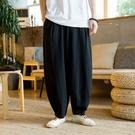 中國風純亞麻休閑長褲男士夏季薄款垂感棉麻闊腿加肥大碼直筒褲潮